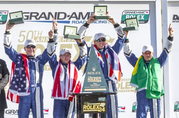 Rolex 24 at Daytona winners; John Pew, A.J. Allmendinger, Justin Wilson and Ozz Negri (Photo Credit: Stephan Cooper)