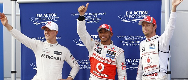 The top three in qualifying - Photo Credit: Mercedes AMG Petronas