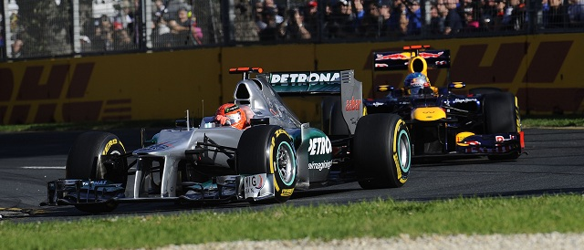 Michael Schumacher leads Sebastian Vettel - Photo Credit: Pirelli