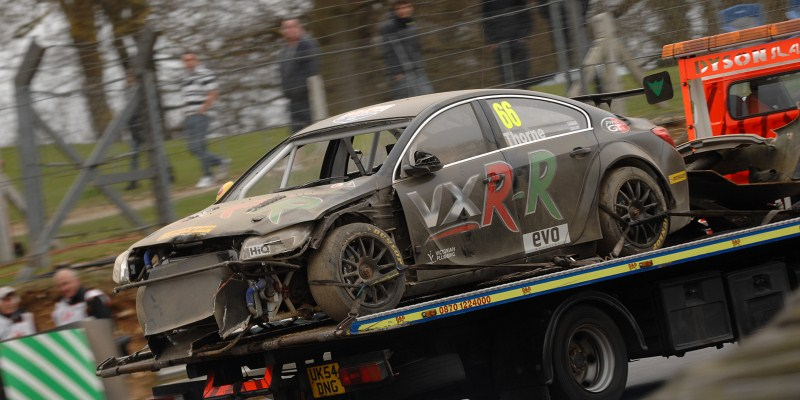Throney Motorsport after Brands Hatch practice crash (Photo Credit: Chris Gurton Photography)