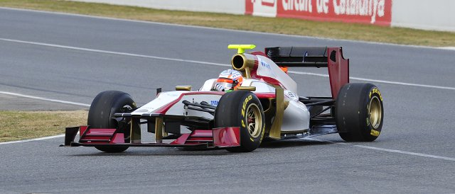 Narain Karthikeyan took the F112 out for its first ten laps last Monday - Photo Credit: HRT