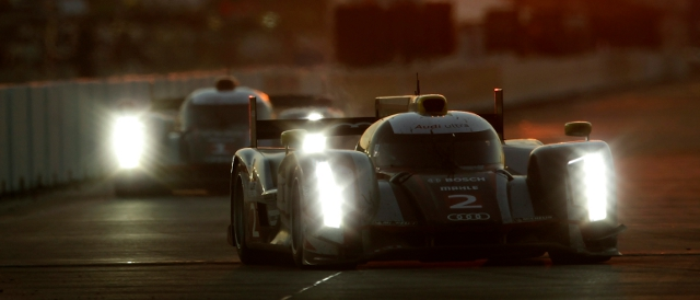 The no.2 Audi R18 TDI led a 1-2 in the 60th 12 Hours of Sebring for the manufacturer (Photo Credit: Audi Motorsport)