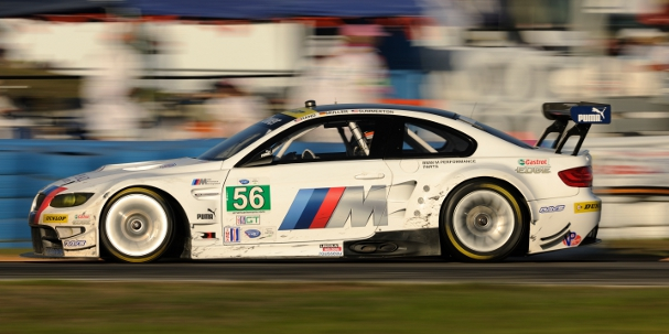 Joey Hand survived a last lap scare with a lapped Ferrari to win the GT class (Photo Credit: BMW AG)