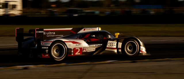 Allan McNish and the no.2 Audi R18 in the Sebring night (Photo Credit: Audi Motorsport)