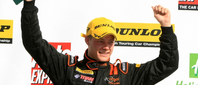 Frank Wrathall celebrates on the BTCC podium during 2011 (Photo Credit: Dynojet)