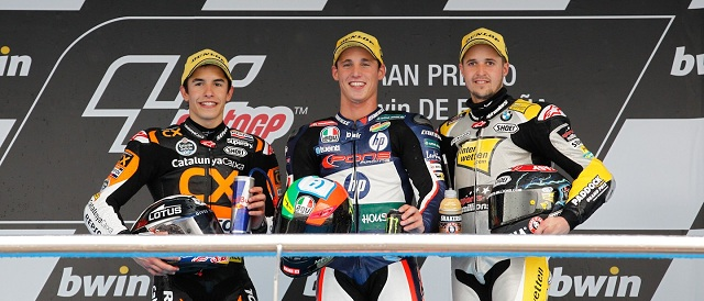 The Moto2 podium finishers at Jerez - Photo Credit: MotoGP.com