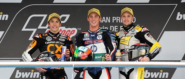 The Moto2 podium finishers at Jerez - Photo Credit: MotoGP.com