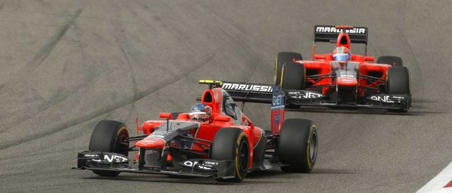 Charles Pic leads Marussia team-mate Timo Glock before retiring from the Bahrain Grand Prix - Photo Credit: Marussia F1