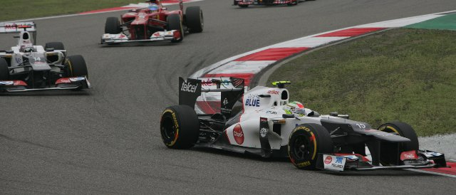 Sergio Perez led team-mate Kamui Kobayashi in the early stages of the Chinese Grand Prix, but finished the race one place behind the Japanese driver - Photo Credit: Sauber Motorsport AG