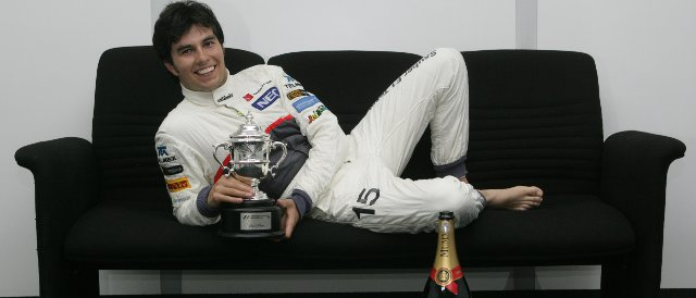 Sergio Perez celebrates with his trophy after an excellent driver to second place at the Malaysian Grand Prix  - Photo Credit: Sauber Motorsport AG