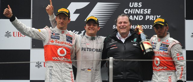 The Chinese Grand Prix podium: (Left to Right) Jenson Button (2nd), Nico Rosberg (Winner), Norbert Haug (Mercedes AMG Petronas), Lewis Hamilton (3rd) - Photo Credit: Pirelli
