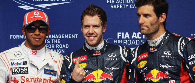 The top three in qualifying today in Bahrain: (left to right) Lewis Hamilton (2nd), Sebastian Vettel (pole), Mark Webber (3rd) - Photo Credit: Mark Thompson/Getty Images