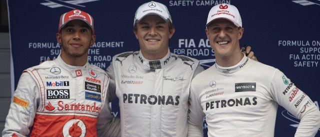 The top three in qualifying in Shanghai: (left ot right) Lewis Hamilton (2nd), Nico Rosberg (pole), Michael Schumacher (3rd) - Photo Credit: Mercedes AMG Patronas