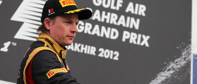 Raikkonen appears on the podium in just the fourth race of his Formula 1 comeback after second place today in Bahrain - Photo Credit: Lorenzo Bellanca/LAT Photographic