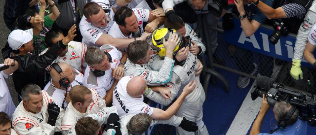 Nico Rosberg celebrates with his team after taking victory in the Chinese Grand Prix - Photo Credit: Mercedes AMG Petronas