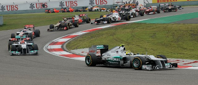 Nico Rosberg leads the field at the start of the Chinese Grand Prix - Photo Credit: Pirelli