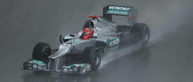 Schumacher scored Mercedes only point of the season so far with tenth place in the rain in Malaysia - Photo Credit: Mercedes AMG GP