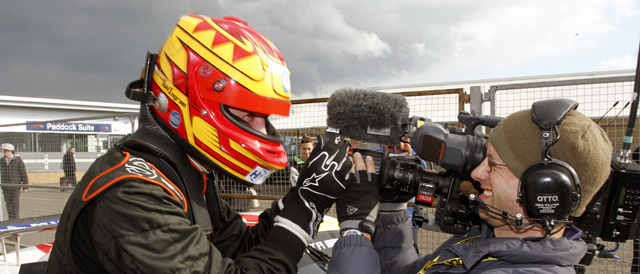 Tom Ingram celebrating after taking victory at Donington Park - Photo: Jakob Ebrey Photography