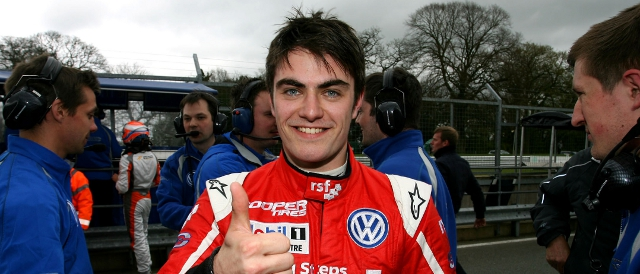 Thumbs Up: Jack Harvey after taking double pole to start 2012 (Photo Credit: Jakob Ebrey Photography)