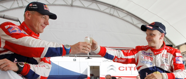 Mikko Hirvonen and co-driver Jarmo Lehtinen celebrate their first victory for Citroen (Photo Credit: Citroen Racing Media)