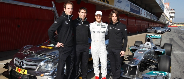Christian Vietoris, Robert Wickens, Michael Schumacher and Roberto Merhi - Photo Credit: Daimler AG