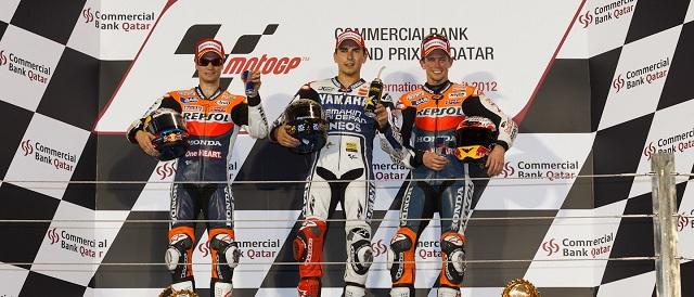The MotoGP podium finishers in Qatar - Photo Credit: MotoGP.com