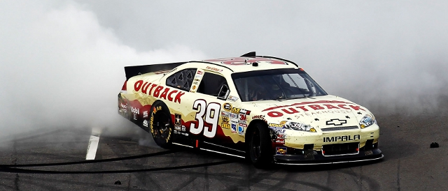 Ryan Newman celebrates on the tight Martinsvile front straight (Photo Credit: Jeff Zelevansky/Getty Images)