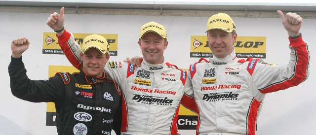 Winner Shedden in the middle of the podium finishers in the day's final race (Photo Credit: btcc.net)