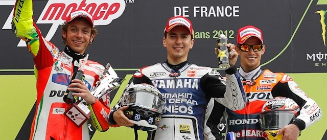 Valentino Rossi (2nd), Jorge Lorenzo (Winner) and Casey Stoner (3rd) - Photo Credit: MotoGP.com