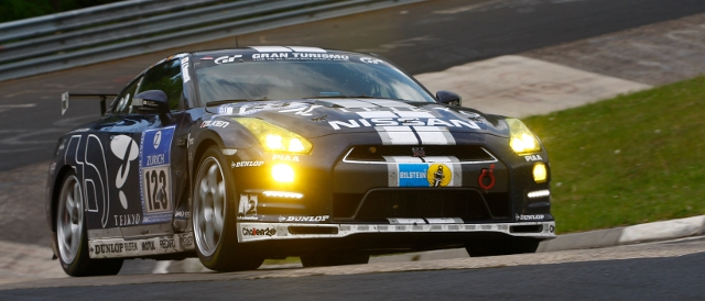 Team GT Academy's Nissan GT-R rides the Karussel banking (Photo Credit: Nissan)