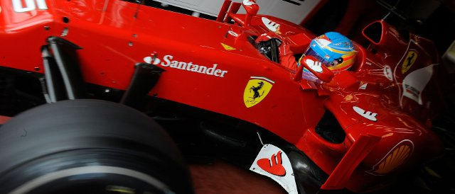 Fernando Alonso had to spent some time in the garage today after a mid-morning off-track excursion - Photo Credit: Ferrari