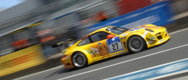 Timbuli Racing's Porsche rumbles down the Nurburgring pitlane (Photo Credit: Chris Gurton Photography)