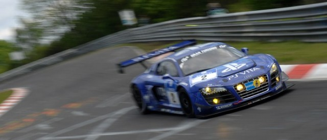 Rain shuffled the order bring the Team Phoenix Audi into second place (Photo Credit: Chris Gurton Photography)