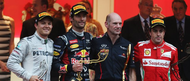 The Monaco Podium: (Left to right) Nico Rosberg (2nd), Mark Webber (Winner), Adrian Newey, Fernando Alonso (third) - Photo Credit: Mark Thompson/Getty Images