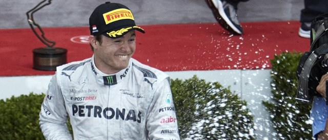 Nico Rosberg celebrates after taking second place in Monte Carlo - Photo Credit: Mercedes AMG Petronas