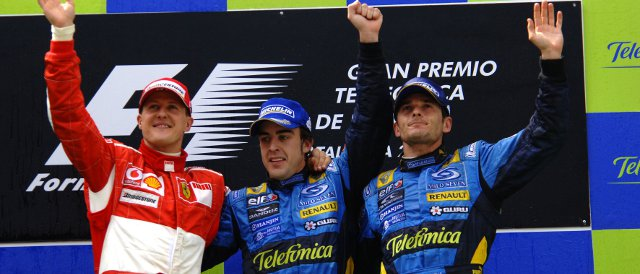 Alonso's only victory in Barcelona came in 2006 when he was driving for Renault. Michael Schumacher (left) was second that day, his sixth and most recent victory in this race came back in 2004 - Photo Credit: Ferrari