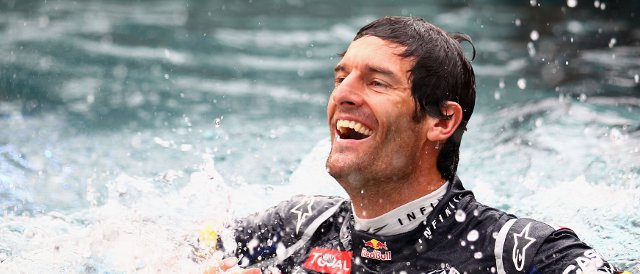 Mark Webber celebrates victory in Monaco by going for a swim - Photo Credit: Clive Mason/Getty Images