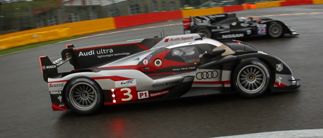The winning Audi R18 Ultra of Romain Dumas, Loic Duval and Marc Gene (Photo Credit: Florent Gooden/DPPI)