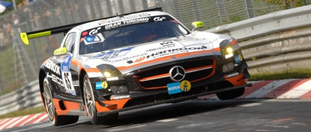 The no.65 Hankook Team Heico Mercedes SLS retired fro third place in the final hour (Photo Credit: Chris Gurton Photography)