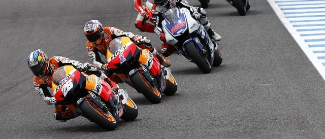 Dani Pedrosa leads Casey Stoner at Jerez - Photo Credit: Repsol Honda