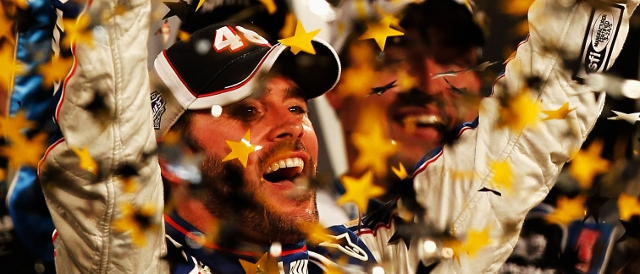 Jimme Johnson celebrates in Victory Lane (Photo Credit: Jared C. Tilton/Getty Images)