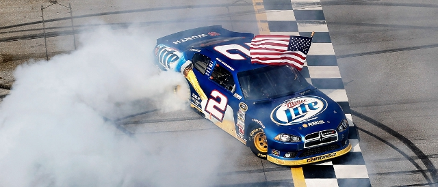 Keselowski celebrates with a burnout on the 'dega finish line (Photo Credit: Todd Warshaw/Getty Images for NASCAR)