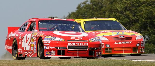 Juan Montoya's last win came in 2010 at Watkins Glen, beating Marcos Ambrose (Photo Credit: John Harrelson/Getty Images for NASCAR)