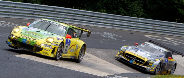 Manthey Racing's Porsche leads around the Nordshleife (Photo Credit: Porsche AG)