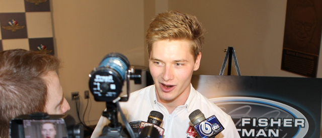 Josef Newgarden speaks to the media (Photo Credit: Chris Jones/Indycar media)