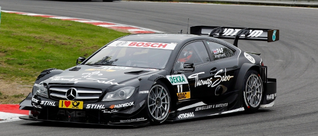 Gary Paffett exits Druids in his Mercedes (Photo Credit: DTM media)