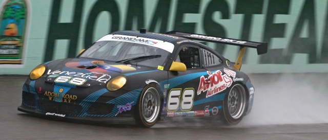 The no.68 TRG Porsche splashes around Homestead-Miami Speedway (Photo Credit: Grand-Am)
