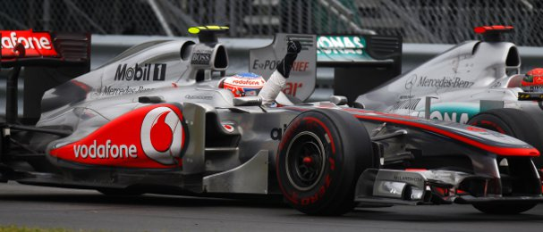 Jenson Button (left) had an eventful drive to victory last season in Canada, but Michael Schumacher also impressed on his way to finishing fourth - Photo Credit: Pirelli