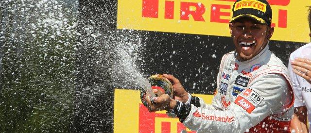 Hamilton celebrates his first victory of 2012 in Canada - Photo Credit: Vodafone McLaren Mercedes