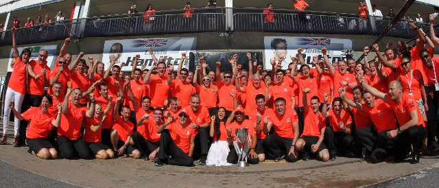 The McLaren team celebrate Lewis Hamilton's Canadian Grand Prix victory - Photo Credit: Vodafone McLaren Mercedes